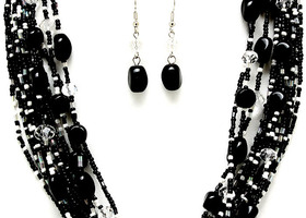 Black and White Multi Strand Necklace and Earrings
