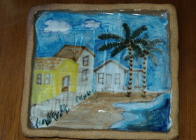 Belize Beach Scene Ceramic Trivet