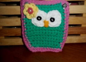 Hand Crocheted Owl Phone/Camera Cozy-Mod Green