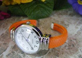 Eikon Large Round Face 3/8 Bright Oranage Leather Cuff Band Watch