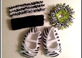 Adorable Set of 2 Headbands, Flower Clip & Zebra Crib Baby Shoes