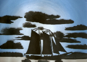 ORIGINAL ART PAINT Stormy Sail Boat Silhouette Ship
