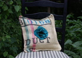 Square Recycled Burlap Coffee Sack Pillow