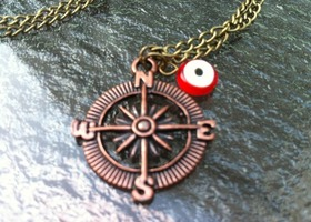 Evil Eye Compass Necklace