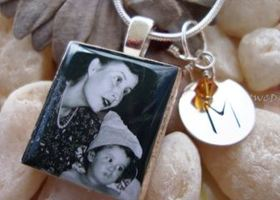Deluxe Custom Photo Scrabble Charm with Sterling Silver Tag Necklace