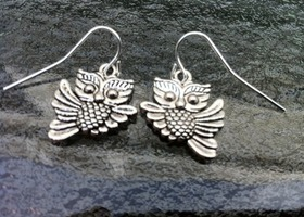 Silver Flying Owl Earrings