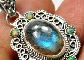 Genuine Labradorite Opal Necklace