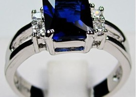 10KT white Gold Filled sapphire ring