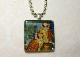 Altered Owls Glass Tile Pendant with FREE Ball Chain Necklace