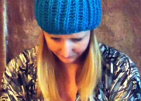 Vibrant Blue Knit Hat with Pom