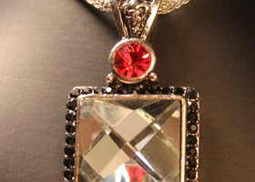"16"" Silver Necklace with Black White and Red Crystals"