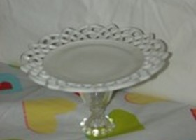 Filigree Milk Glass and Boopie Glass Pedestal