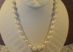 wedding white pearl and sterling set