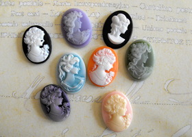 Eight Resin Cameo Cabochons