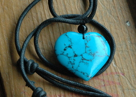 Heart Howlite Turquoise Adjustable Necklace  Pendant
