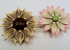 2 Polymer Clay Flower Focal