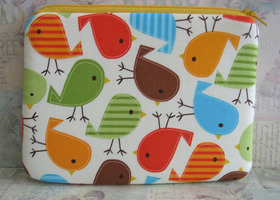 Coin , cell phone or gadget pouch with wild birds- padded