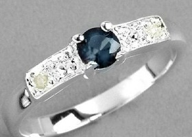 Genuine Natural Midnight Blue Sapphire and Diamond Solid Polished Sterling Silver Ring,