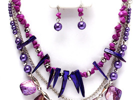 Purple Multi Strand Necklace And Earring