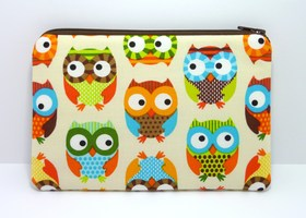 Cosmetic Bag Zipper Pouch Padded - Owls