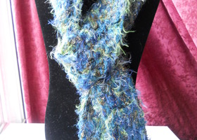 Seaside Blues Fuzzy Chenille Blend Scarf - 5.5 ft
