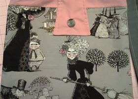 Gray and Pink Fun Witchy Shoulder Bag/ Tote