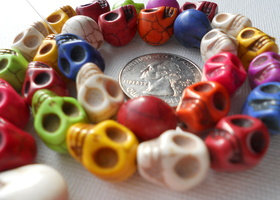 Colorful Howlite Skulls ~ Multicolor ~ one strand 33pcs