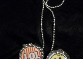 Text Talk and Smiley Face Bottle Cap Necklace