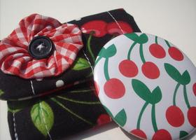 Sweet Cherry Pocket Mirror and Carrying Case