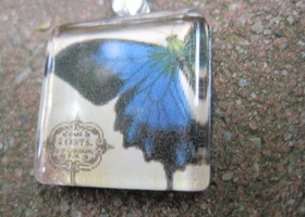 Butterfly tile necklace