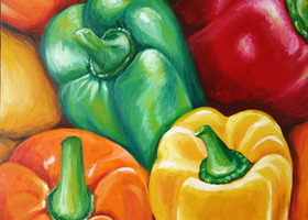 "Bell Peppers Art Print 8x8"" Painting Reproduction Signed by Artist"