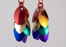 rainbow scale earrings