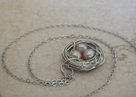 Natural Champagne Potato Pearl Bird's Nest Necklace