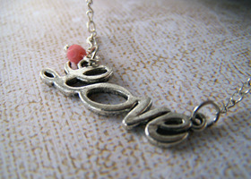 Tibetan silver LOVE charm necklace