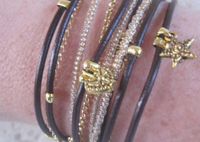 Brown Leather Wrap Bracelet with Gold or SilverTone Accents and Champagne Miyuki beads.