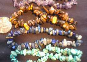 4 Gem Stone Chip Strands, 65+ per Strand.
