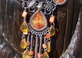 Fancy Orange Swirls Necklace and Earring Set