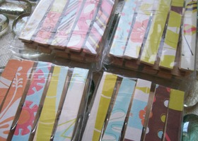 Sun Kissed -- 20ct set of Decorative Decoupaged Clothespins Paper Both Sides