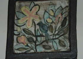 Bird and Flowers Art Tile / Paper Weight