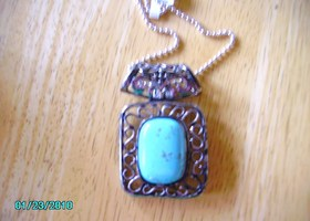 "Large Turquoise Pendant with 20"" Chain New"