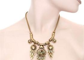 Bronze Metallic Jewel Necklace Set