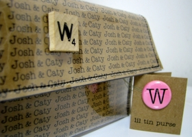 Personalized vinyl clutch or wallet with scrabble tile button