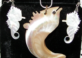 Solid Mother Of Pearl Pendant and Earring set