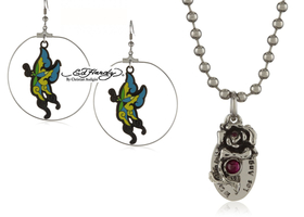Ed Hardy Set! Earrings & Pendant, With COAs!
