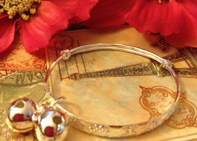 Precious Silver Plate Baby Bangle Adjustable