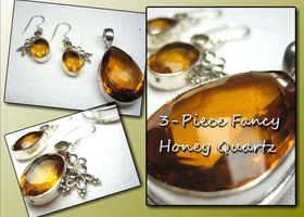 3-Piece Sterling Silver Honey Quartz Set