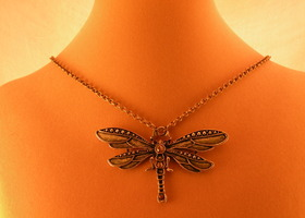 Deco Jeweled Dragonfly Antiqued Brass Pendant Necklace