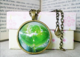 Green Life Necklace, Nature, Green, Wearable Art Necklace