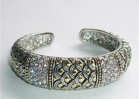 Designer Inspired Pave Crystal Bracelet Two Tone Rhodium 14 k eg White Yellow Gold Hinged