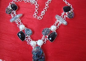 69Gms Silver Necklace with Druzy,Pearl and Black Onyx